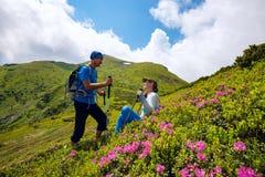Le couple heureux apprécie la vie parmi les rhododendrons fleurissants Photos libres de droits
