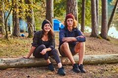 Le couple heureux attrayant d?tend dans la for?t ensoleill?e verte tout en se reposant sur le rondin photo stock