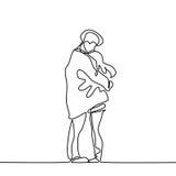 Le couple heureux chauffe dans leurs bras sous le manteau de garçons illustration libre de droits