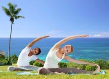 Le couple heureux faisant le yoga s'exerce dehors Photographie stock libre de droits