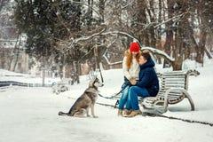 Le couple heureux passe leur temps avec le chien sibérien en parc neigeux pendant les chutes de neige La fille principale rouge a Photo libre de droits