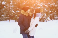 Le couple heureux tient des mains dans la forêt d'hiver Photos stock