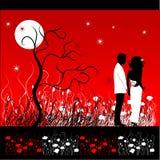 Le couple marche sur un meado de fleur Photographie stock libre de droits