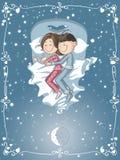 Le couple mignon de bande dessinée caresse dans le lit illustration de vecteur