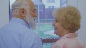 Le couple supérieur marié apprécie la neige en baisse dans la fenêtre banque de vidéos