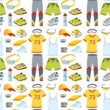 Le coureur courant de vêtements de vêtements de sport embraye pour l'illustration sans couture de vecteur de fond de modèle de sé Photos stock
