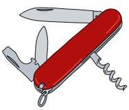 Le couteau de poche suisse rouge d'armée illustration stock