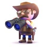 le cowboy 3d regarde par des jumelles Photo libre de droits