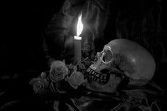 Le crâne avec le groupe de fleurs et la bougie s'allument sur la table en bois avec le fond noir dans la nuit dans le St noir et  Images libres de droits