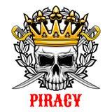 Le crâne avec la couronne et les sabres pour la piraterie conçoivent illustration de vecteur