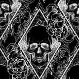 Le crâne avec la pivoine, rose humains et le pavot fleurit au-dessus du geome sacré illustration de vecteur