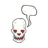 le crâne de bande dessinée avec le coeur d'amour observe avec la bulle de la parole Photos libres de droits