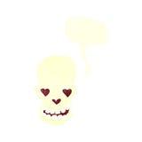 le crâne de bande dessinée avec le coeur d'amour observe avec la bulle de la parole Photo stock