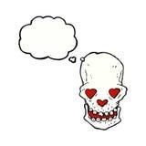 le crâne de bande dessinée avec le coeur d'amour observe avec la bulle de pensée Photographie stock
