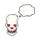 le crâne de bande dessinée avec le coeur d'amour observe avec la bulle de pensée Photographie stock libre de droits