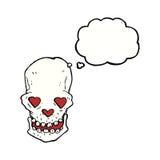 le crâne de bande dessinée avec le coeur d'amour observe avec la bulle de pensée Image libre de droits