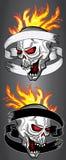 Le crâne de cri d'horreur en flammes du feu a tordu avec le vieux ruban Photo libre de droits