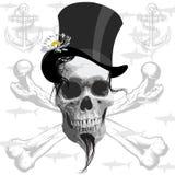 Le crâne de pirate - et requins illustration libre de droits