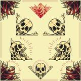 Le crâne et la Rose Frames ont placé 01 Photo stock