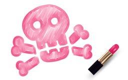 Le crâne et le symbole d'os croisés écrivent par la couleur de rose de rouge à lèvres d'isolement sur le fond blanc Photographie stock