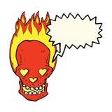 le crâne flamboyant de bande dessinée avec le coeur d'amour observe avec la bulle de la parole Images stock