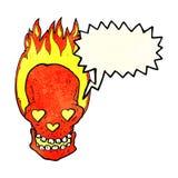 le crâne flamboyant de bande dessinée avec le coeur d'amour observe avec la bulle de la parole Images libres de droits