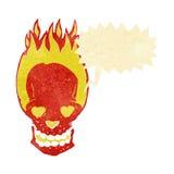 le crâne flamboyant de bande dessinée avec le coeur d'amour observe avec la bulle de la parole Photo stock