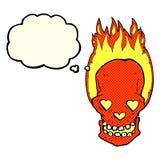 le crâne flamboyant de bande dessinée avec le coeur d'amour observe avec la bulle de pensée Photos libres de droits