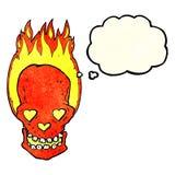 le crâne flamboyant de bande dessinée avec le coeur d'amour observe avec la bulle de pensée Images stock
