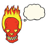 le crâne flamboyant de bande dessinée avec le coeur d'amour observe avec la bulle de pensée Photo stock