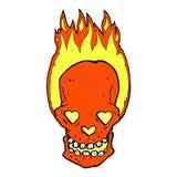 le crâne flamboyant de bande dessinée comique avec le coeur d'amour observe Photo stock