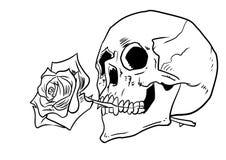 Le crâne humain avec s'est levé dans l'inkline d'illustration de bouche illustration de vecteur