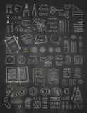 Le créateur de scène de craie de vecteur a placé sur le fond de tableau noir illustration stock