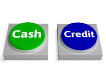 Le crédit pour paiement comptant boutonne la devise ou le prêt d'expositions Images libres de droits