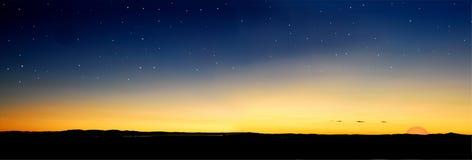 Le crépuscule stars le soleil Photos stock