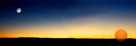 Le crépuscule stars le soleil Image libre de droits