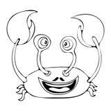 Le crabe drôle de bande dessinée pour livre de coloriage d'isolement sur le fond blanc, dirigent le dessin noir et blanc de main, Photo stock