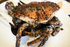 Le crabe sri-lankais de boue wok-a fait frire et a jeté en l'air en poivre noir image libre de droits