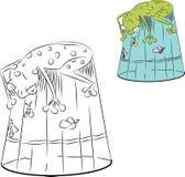 Le crapaud attrape les mouches qui se reposent dans le verre Image libre de droits