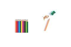 Le crayon avec un rasage a isolé sur le fond blanc Images libres de droits