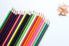 le crayon de vue supérieure est placé sur un fond blanc et a le PS de copie photo libre de droits