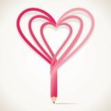 Le crayon est conception avec la forme de coeur illustration de vecteur