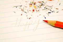 Le crayon et le graphite coloré de l'affûteuse Photo libre de droits