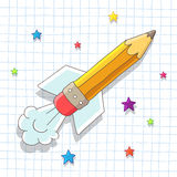 Le crayon Rocket monte dans les étoiles Photo libre de droits