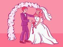 Le cri triste de fiancée, jeune marié essaye de la soulager Illustration de type de dessin animé illustration de vecteur
