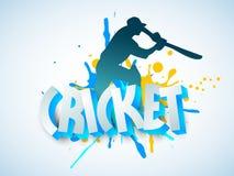 Le cricket folâtre le concept avec le batteur et le texte 3D Photographie stock libre de droits