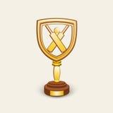 Le cricket folâtre le concept avec le trophée de gain Images libres de droits