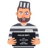 Le criminel attrap? tient un signe avec le nom pour une photo d'identification illustration stock