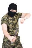 Le criminel avec un couteau photos libres de droits