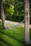 Le crochet blanc de knit avec l'arbre est un endroit confortable à détendre Photographie stock libre de droits